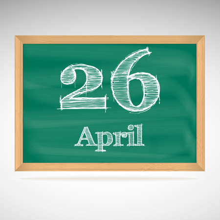 April 26, day calendar, school board, date Vector