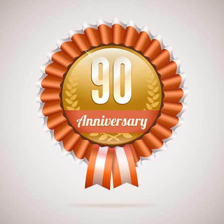 90 years: 90 anni anniversario distintivo d'oro con nastri, illustrazione vettoriale