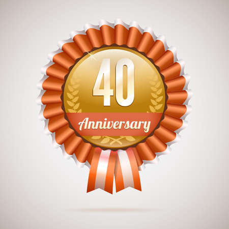 40 years: 40 years anniversary golden badge with ribbons, vector illustration