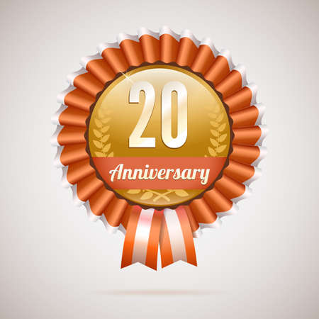 20 years anniversary golden badge with ribbons, vector illustration Vector