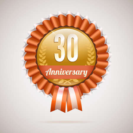 30 years anniversary golden badge with ribbons, vector illustration Vector