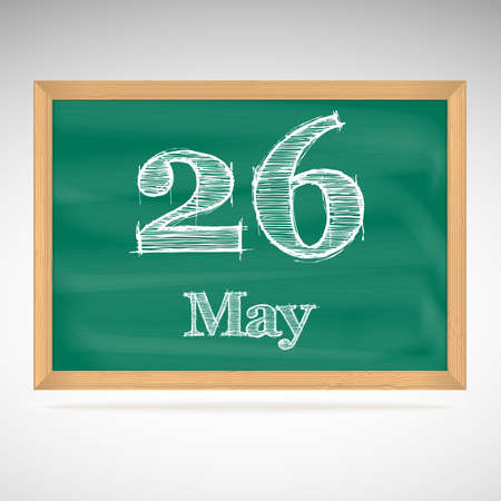 May 26, day calendar, school board, date Vector