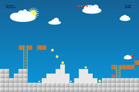 8-bit video game location, arcade games, star,, bomb, coin, stairs Vectores