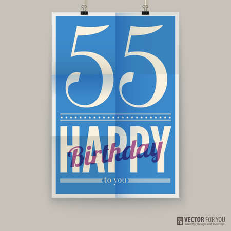 Happy birthday poster, card, fifty-five years old.   Illustration