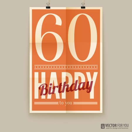 Happy birthday poster, card, sixty years old