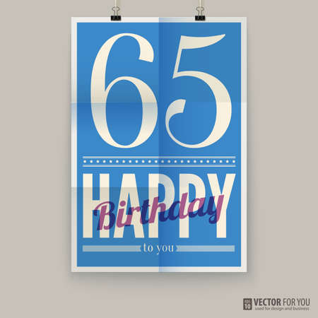 Happy birthday poster, card, sixty-five years old.  Illustration