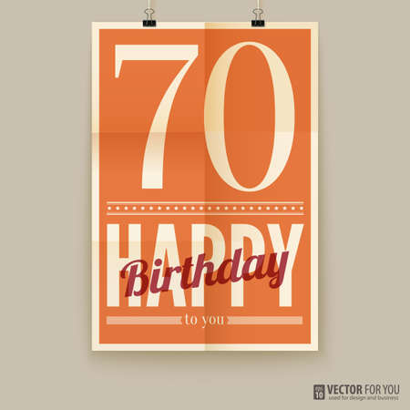 Happy birthday poster, card, seventy years old.