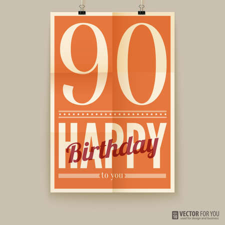 Happy birthday poster, card, ninety years old.  Illustration