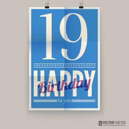 nineteen: Buon compleanno manifesto, carta. diciannove anni. Vettoriali