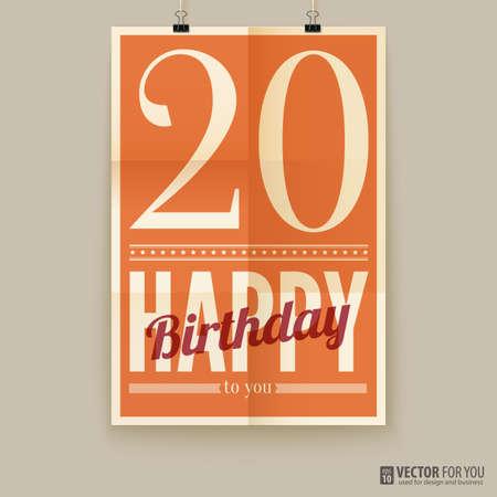 Happy birthday poster, card. twenty years old.