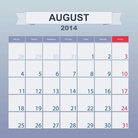 august 2014-planning calendar Stock Vector - 24115131
