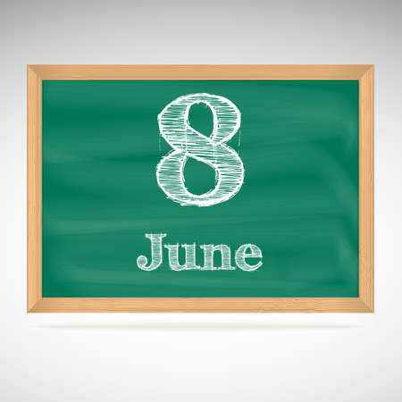 June 8, day calendar, school board, date Vector