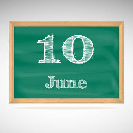 June 10, day calendar, school board, date Vector