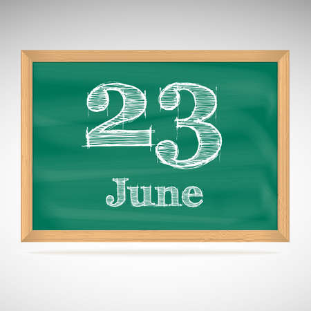 June 23, day calendar, school board, date Vector