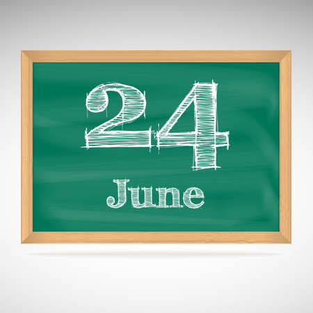June 24, day calendar, school board, date Vector