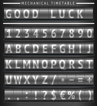 canceled: Set of letters on a mechanical timetable