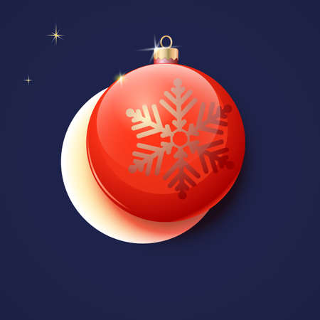 kerstbal rood: Red Christmas ball, moon, stars, greeting card Stock Illustratie