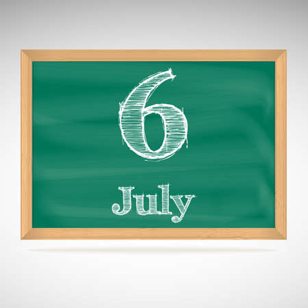 July 6, inscription in chalk on a blackboard, day calendar, school board, date Vector