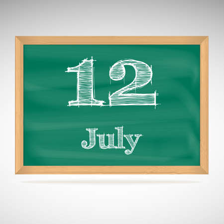 July 12, inscription in chalk on a blackboard, day calendar, school board, date Vector
