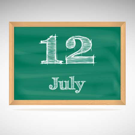 July 12, inscription in chalk on a blackboard, day calendar, school board, date Stock Vector - 24115170