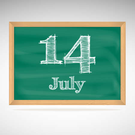 July 14, inscription in chalk on a blackboard, day calendar, school board, date Vector