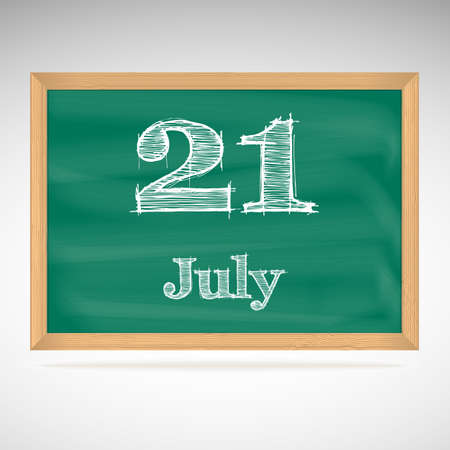 July 21, inscription in chalk on a blackboard, day calendar, school board, date Vector