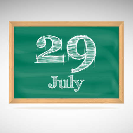 July 29, inscription in chalk on a blackboard, day calendar, school board, date Vector