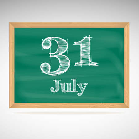 31: July 31, inscription in chalk on a blackboard, day calendar, school board, date Illustration