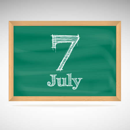 July 7, inscription in chalk on a blackboard, day calendar, school board, date Vector