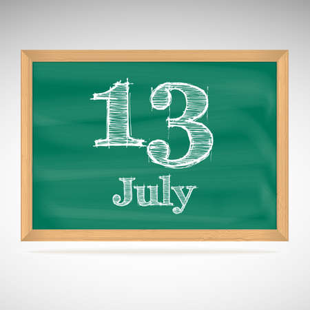 July 13, inscription in chalk on a blackboard, day calendar, school board, date Vector