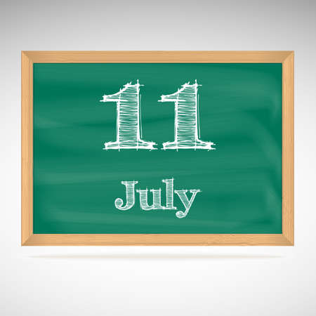 July 11, inscription in chalk on a blackboard, day calendar, school board, date Vector