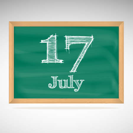 July 17, inscription in chalk on a blackboard, day calendar, school board, date Vector