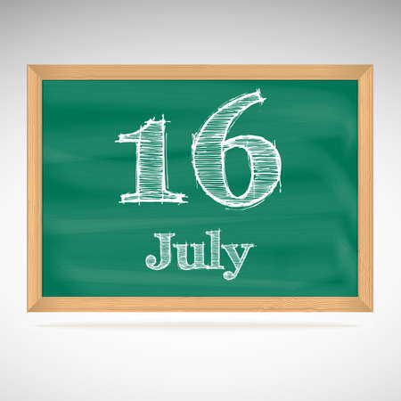July 16, inscription in chalk on a blackboard, day calendar, school board, date Vector