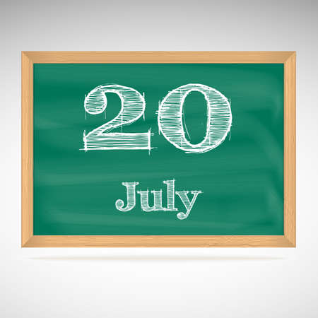July 20, inscription in chalk on a blackboard, day calendar, school board, date Vector