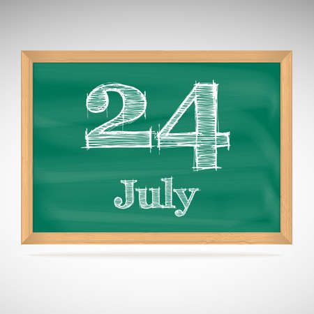 July 24, inscription in chalk on a blackboard, day calendar, school board, date Vector