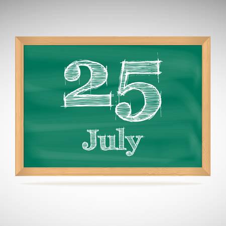 July 25, inscription in chalk on a blackboard, day calendar, school board, date Stock Vector - 24115249