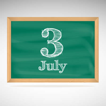 July 3, inscription in chalk on a blackboard, day calendar, school board, date Vector