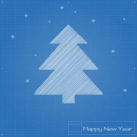 Christmas tree on blueprint. Vector illustration.