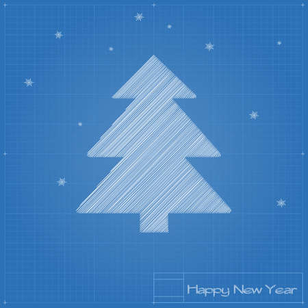 Christmas tree on blueprint. Vector illustration. Vector