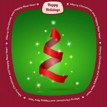 lent: Christmas tree greeting card, festive ribbon