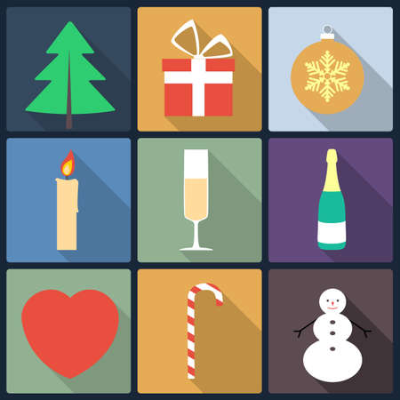 Set of Christmas icons, flat icons Vector