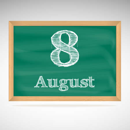 August 8, day calendar, school board, date, schedule Vector