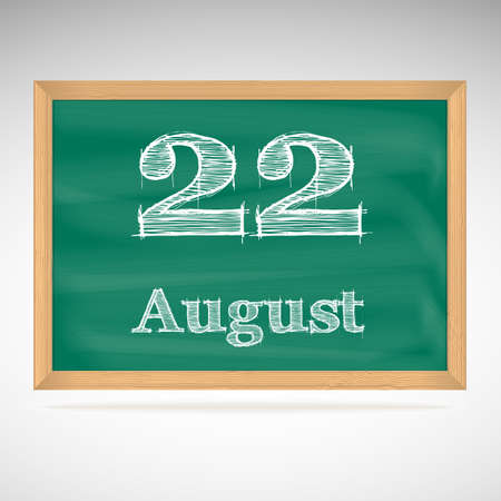 August 22, day calendar, school board, date, schedule Vector