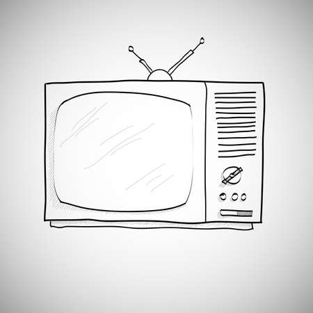 hand drawn retro TV vector, skecth style. Vector