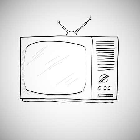 skecth: hand drawn retro TV vector, skecth style.