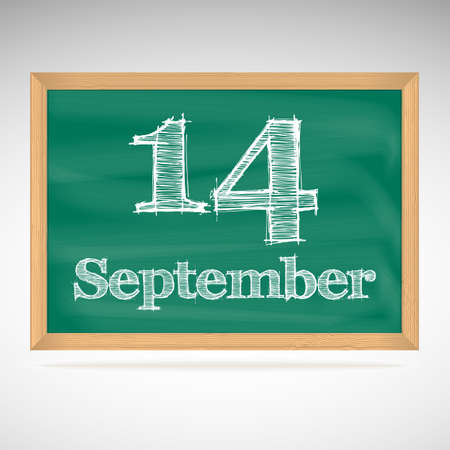 September 14, inscription in chalk on a blackboard, day calendar, school board, date Vector