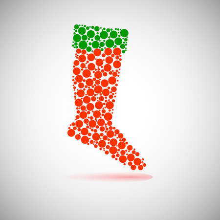 Santas red stocking. Concept of christmas or holiday. Vector
