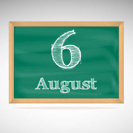 August 6, day calendar, school board, date, schedule Vector