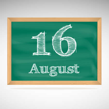 16: August 16, day calendar, school board, date, schedule Illustration