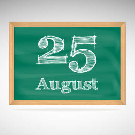 August 25, day calendar, school board, date, schedule Vector